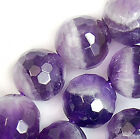 8mm Faceted Natural Purple Amathyst Round Beads 15.5""