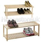 2 TIER WOOD WOODEN SHOE BOOTS SHELF RACK HOLDER STAND STORAGE ORGANISER UNIT