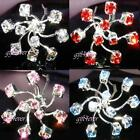 6 PCS Bridal Prom use Swarovski Crystal Hair Pins Clips H031clear pink blue red