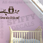 Grow Wise Little Owl Nursery Room Quote Vinyl Wall Decal Lettering Decor Sticker