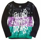 NWT Justice Girls Follow Your Dreams Sequin Black Tri Color Tee Top U Pick NEW