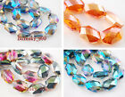 15 Charms Faceted Crystal Necklace Findings Spacer Oval Hexagon Loose Beads 18mm