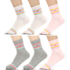6 Pairs Womens Fashion Striped Ankle High Cotton Socks Everyday, MK, One Size