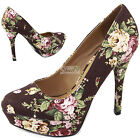Sexy Fabric Floral Platform High Heel Classic Stiletto Women Pump Sandal Shoes