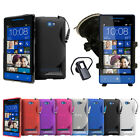 NEW 3 IN 1 PACK CASE - BLUETOOTH HEADSET - CAR HOLDER WINDSCREEN SUCTION HTC 8S