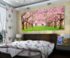 Path Under Cheery Blossom Modern Decorative Canvas Print Set Choice Of Clock
