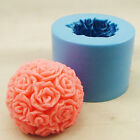 FM240 Soft Silicone Handmade Soap Candle Mold Mould - rose ball