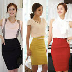Women Zipper back Split Sheath Waisted Casual Evening Party Pencil Skirt Y625