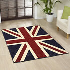 LARGE XL MODERN NAVY BLUE IVORY CREAM RED BRITISH UNION JACK UNION FLAG RUG