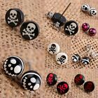 Wholesale UV Coin/Round Skeleton Skull Pirate Stainless Steel Ear Stud Earrings