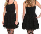 ~SWEET LOVE~ BLACK FLORAL LACE TULLE LINED SLIP LAYERED TUBE DRESS NEW