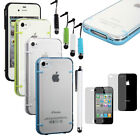 Multi-Color Frame Ultra-thin TPU Clear Back Hard Cover Case For iPhone 4 4S New