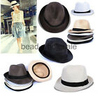 Fashion Fedora Trilby Gangster Straw Panama Hat Cap Men Women Summer Beach