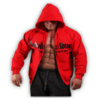 MENS RED COTTON BODYBUILDING CLOTHING ZIP HOODIE WORKOUT GYM TOP MUSCLE