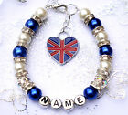 Personalised British GB England United Kingdom Bracelet Card & Bag 12 colours -