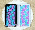 New Cube Purple&Blue Swarovski Element Crystal Phone Cover Case For iPhone 5