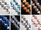 25 Charms Faceted Glass Crystal Across Corners Hole Cube Square Spacer Bead 10mm