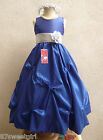 ROYAL BLUE SILVER GRAY PARTY GOWN FLOWER GIRL DRESS 2T/2 3 4 5 6X 6 7 8 10 12 14