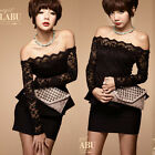 Women Sexy New Lace Black Off-shoulder Long Sleeve Mini Dress Cocktail Nightclub