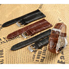 Mens Genuine Leather Watch Band Bracelet Croco Strap 22mm 20mm 18mm Black Brown