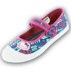 Girls SIZE 8 - 2 HELLO KITTY Denim Blue Velcro Canvas Pumps Trainers Shoes NEW