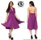 LADIES PURPLE DAY NIGHT DRESS BACK OPEN HALTER V NECK PROM COCKTAIL PARTY SEXY