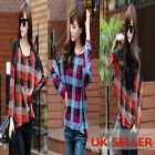 GZ Women Ladies Crew-neck Checked Loose Batwing Long Sleeved Baggy Top T- Shirt