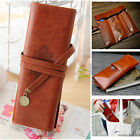 New Vintage Style PU Leather Pencil Pen Case Cosmetic Makeup Bag Pouch Pocket
