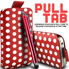 LEATHER POLKA & ZEBRA PULL TAB CASE POUCH+ STYLUS FOR VARIOUS SAMSUNG PHONES