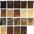 "15""-28"" CLIP IN REMY REAL HUMAN HAIR EXTENSIONS 7PCS 19 COLORS ANY LENGTH US"