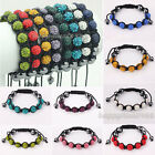 Wholesale!10mm*7 CZ Crystal Clay Disco Ball Bead Micro Pave Shamballa Bracelets
