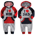 "NWT Vaenait  Baby Newborn Fleece Jumpsuit Onepiece Bodysuit  ""Hoodie  Mom Dad"""