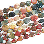 """Natural Colorful Picasso Gemstone Beads 15"""" Oblong,Diamond,Square,Heart,Etc"""