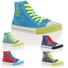 Womens New High Top Ladies Casual Sneakers Trainers Pumps Plimsolls Size 3-8 UK