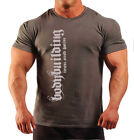 BODYBUILDING T-SHIRT WORKOUT  GYM CLOTHING CHARCOAL