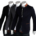 One Button Stand-up Collar Fashion Slim Fit Mens Suit Blazer Coats Jackets