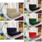 "LARGE DOUBLE 4FT 6"" BED 2 SEATER FUTON WOOD FRAME + MATTRESS CHOICE OF COLOURS"