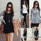 Fashion Women Slim Crew Neck T-Shirt Splicing Lace Tops Blouses Long Sleeve