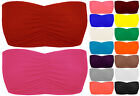 New Womens Plain Boob Tube Ladies Wrap Top Bandeau Crop Bra Vest Size 6-12
