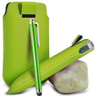 VARIOUS PHONES GREEN PULL TAB LEATHER POUCH CASE COVER W/ BIG STYLUS PEN