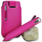 HOT PINK POUCH PULL TAB CASE COVER W/ RETRACTABLE STYLUS PEN FOR VARIOUS PHONES