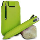 GREEN POUCH PULL TAB CASE COVER W/ RETRACTABLE STYLUS PEN FOR VARIOUS PHONES