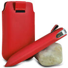 RED PULL TAB LEATHER POUCH SKIN COVER CASE SLEEVE PU HOLSTER FOR VARIOUS PHONE