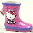 CHILDRENS KIDS GIRLS HELLO KITTY PINK OUTDOOR WELLIES WELLINGTON BOOTS SIZE 6-12