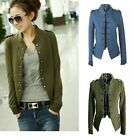 Lady Women's Casual Jacket Epaulet Long Sleeves Cotton Double Breasted Coat tops