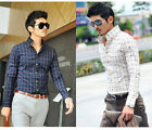 ST158 New Men Stylish Casual Check Slim Fit Long Sleeve Dress Shirts US XS-XL