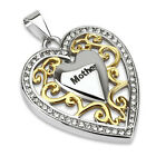 "Elegant Stainless Steel and Gold Heart ""Mother"" Pendant w/ Multi-CZ"