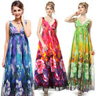 Ever-Pretty Sexy V-neck Colorful Floral Printed Chiffon Evening Dress 09349