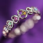 18K Rose GOLD GF R253 RUBY AMETHYST LOVE HEART LADIES GIRLS GIFT SOLID BAND RING