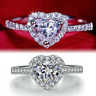 9K WHITE GOLD FILLED R34 HEART LAB DIAMOND ANNIVERSARY WEDDING WOMENS SOLID RING